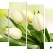 4 Panel Hot Sell Modern Wall Painting Home Decorative Art Picture Paint on Canvas Prints The charming white tulip