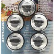 Aqua Plumb RKG Gas Range Knob Set Replacement, Black with Silver Overlay, 5-Pack