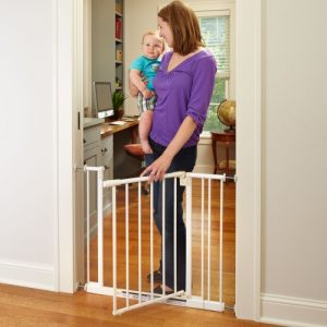 Easy Close Gate, White, Fits Spaces between 28″ to 38.5″ Wide and 29″high