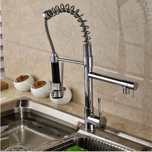 Deck Mounted Single Handle Hole Dual Spouts Chrome Finish Kitchen Faucet With Handheld Dual Spouts