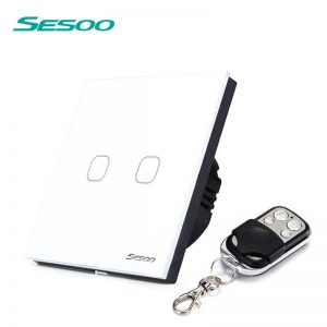 SESOO EU/UK Standard Wireless Remote Control Light Switches, 2 Gang 1 Way RF433 Remote Control Wall Touch Switch For Smart Home