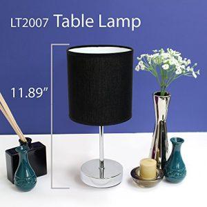 Simple Designs LT2007-BLK Chrome Mini Basic Table Lamp with Fabric Shade, Black