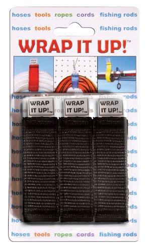 Kwik Tek WR-123BK Black Wrap It Up Hook and Loop Wrap, (Pack of 3)